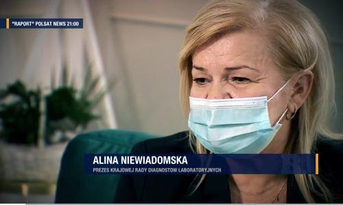 """Gdzie wykonać wiarygodny test? """"Tylko w akredytowanych laboratoriach"""" - radzi Prezes Krajowej Rady Diagnostów Laboratoryjnych Alina Niewiadomska w Polsat News."""