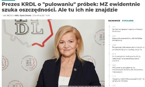 Portal Rynek Zdrowia opublikował komentarz prezes KRDL Aliny Niewiadomskiej nt. pulowania próbek. KRDL negatywnie ocenia projekt rozporządzenia MZ zmieniający rozporządzenie w sprawie standardów jakości dla medycznych laboratoriów diagnostycznych i mikrobiologicznych.